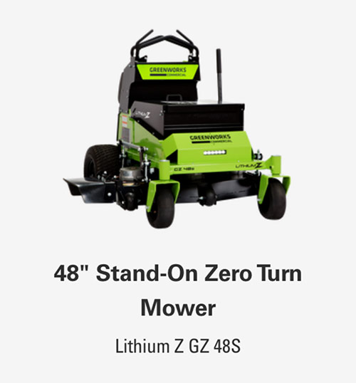 48-Inch Stand-On Zero Turn Mower | Greenworks Commercial