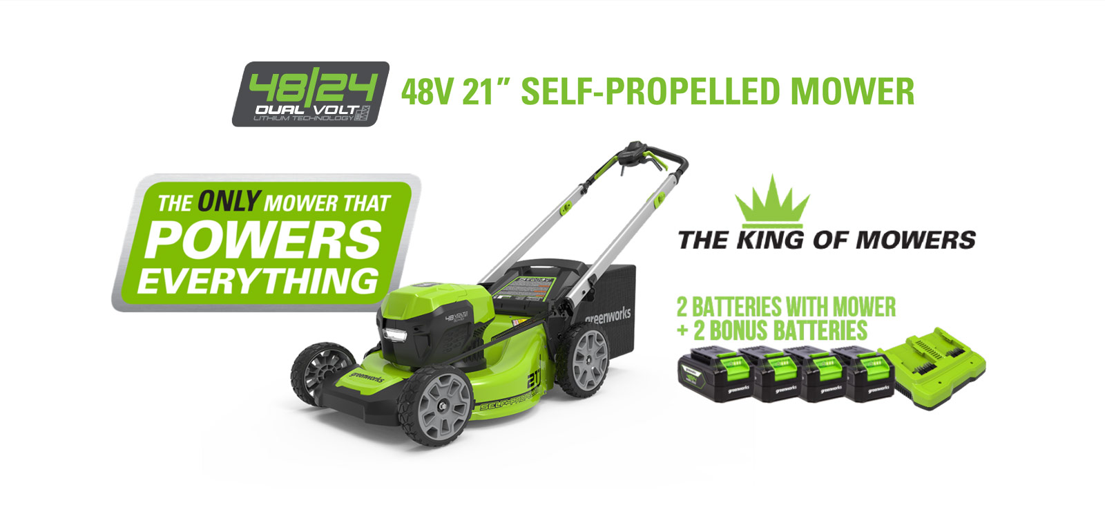 48V 21-Inch Self-Propelled Lawn Mower | Greenworks Commercial