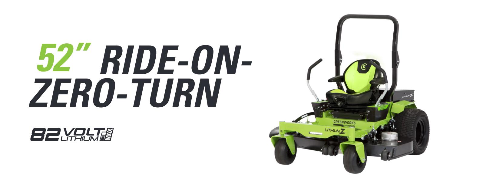 82V 52-Inch Ride-On Zero Turn Mower | Greenworks Commercial